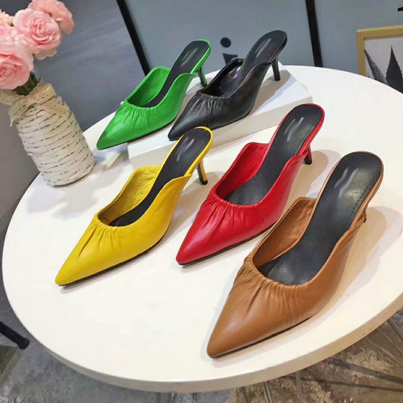 Hot Woman Slipper High Thin Heel Pointed Toe Shoes Woman Ruffles Chic Brand Super Star Runway Outdoor Summer Slides Comfortable