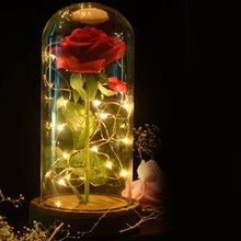 Rose LED Night Lamp String Light in a Glass Dome Wooden Base Valentine's Day Gifts Room Decor Battery Powered Drop Shipping цена 2017