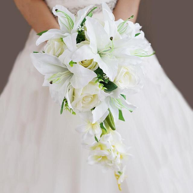 Waterfall Lily White Rose Bridal Bouquest Royal Wedding Bouquet For Brides Flower Drop Shaped Artificial