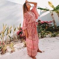 Jastie 2018 Summer 3/4 Sleeve Floral Printed Maxi Kimono Boho Hippie Cardigan Jacket Loose Women Shirts Blouse 2018 Beach Blusa