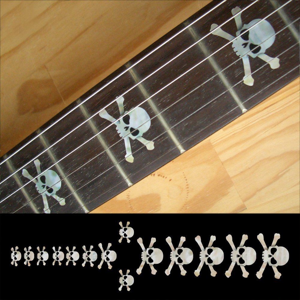 Fretboard Markers Inlay Sticker Decals for Guitar & Bass - Skull - White/Red/Black jackson usa rr1 randy rhoads ebony fretboard snow white w black pinstripes