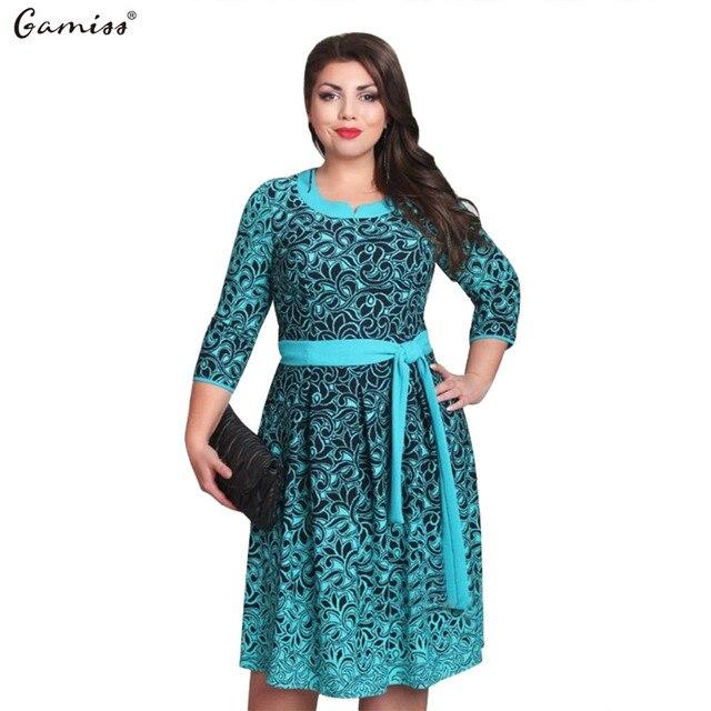 cd309a0f338 Gamiss women summer Plus Size 5XL 6XL Midi Dress O neck Long Sleeves Floral  Printing Feminine Vestidos With Belt Work OL Wear