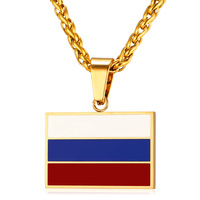 New Hot Fashion Russian National Flag Pendant Necklace Jewelry Stainless Steel Gold Plated Patriot Necklace For