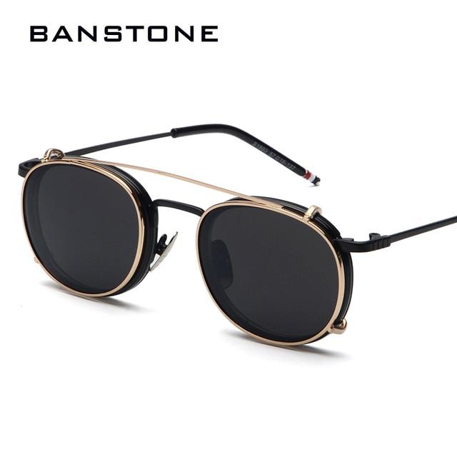 36365617cafa2 BANSTONE Mulheres Espelhado Óculos de Lente Redonda Óculos Óculos Steampunk  óculos de Sol Dos Homens Retro