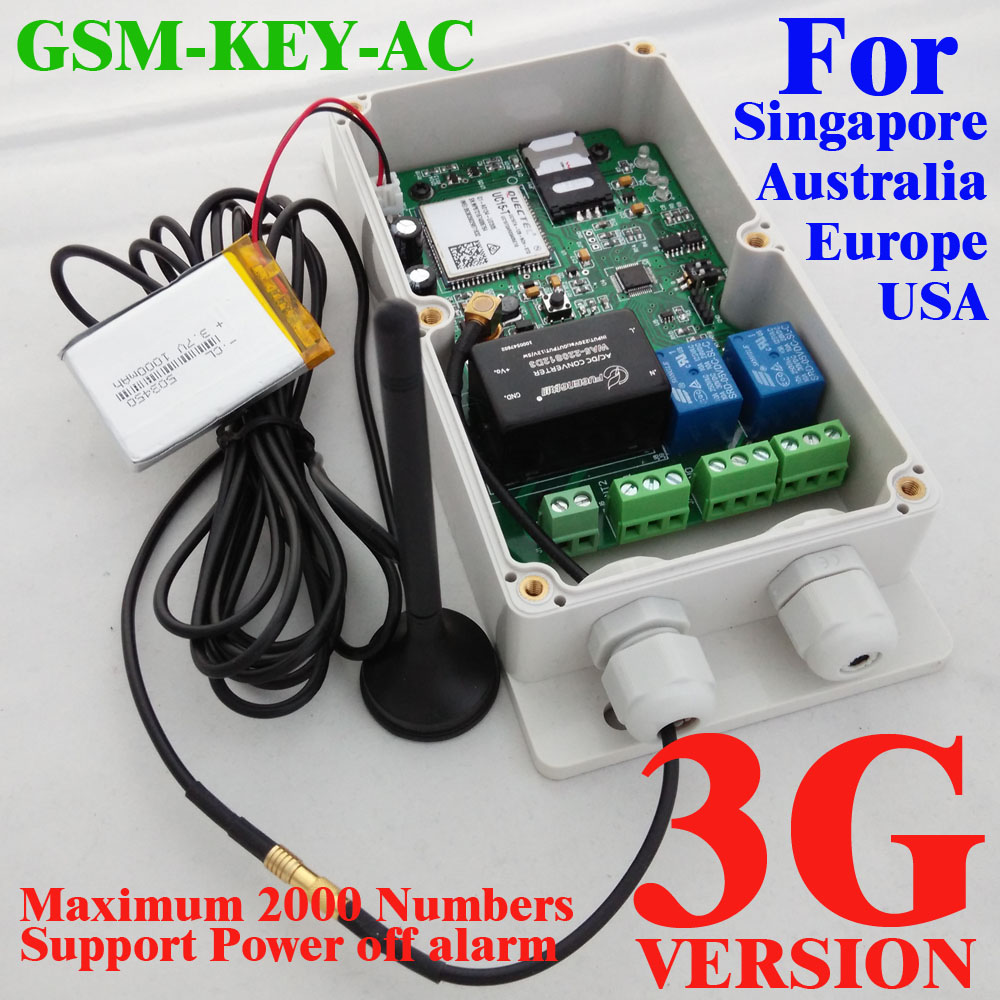 3G Version GSM-KEY-AC2000 Good designed 3G and GSM gate opener two relay output two alarm input for Australia,USA,Singapore ...