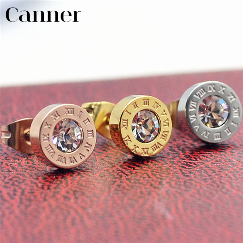 Canner Round Cubic Zirconia Earrings Roman Number Gold Silver Color Stud Earrings For Woman Men Stainless Steel Earring brincos gold earrings for women