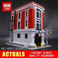 Nova LEPIN 16001 4705 pcs Ghostbusters Firehouse brinquedos Modelo conjunto Modelo de Construção Kits Sede Compatível 75827