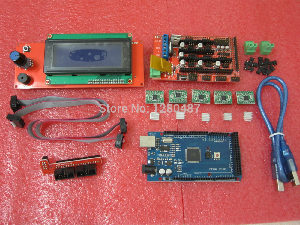 все цены на  1pcs Mega 2560 R3 + 1pcs RAMPS 1.4 Controller + 5pcs A4988 Stepper Driver Module /RAMPS 1.4 2004 LCD control for 3D Printer kit  онлайн