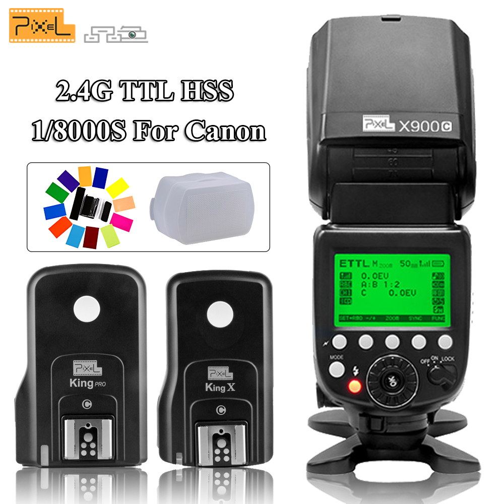 Pixel X900C Pro Wireless Li ion Battery ETTL LCD Screen Flash Speedlite with King Pro C Flash Trigger Kit Transceiver for Canon