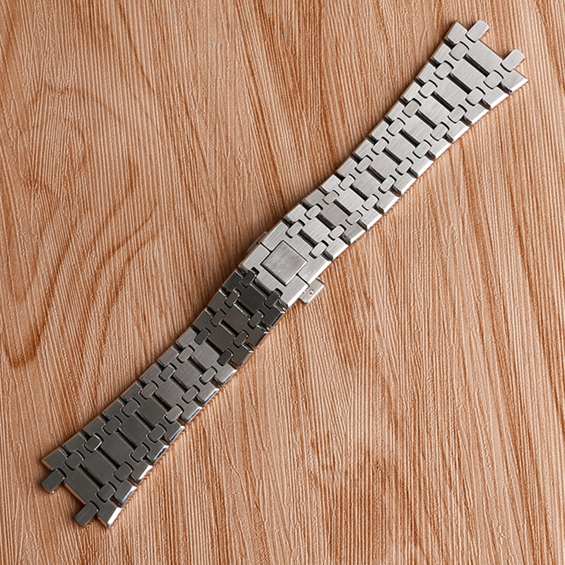 купить High Quality Men Watchband Bracelet Solid Link Wrist Band Strap Stainless Steel Luxry Replacement For AP Watch + 2 Spring Bars по цене 1999.81 рублей