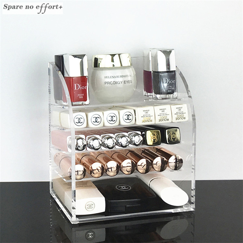 Clear Acrylic Makeup Organizer Lipstick Nail Polish Holder Desktop Cosmetic Organizador Storage Box Makeup Tools Container