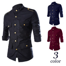 Men's New Metal Buttons Casual Shirt Social Solid Color Shirt Three Quarter Sleeve Turn Down Collar