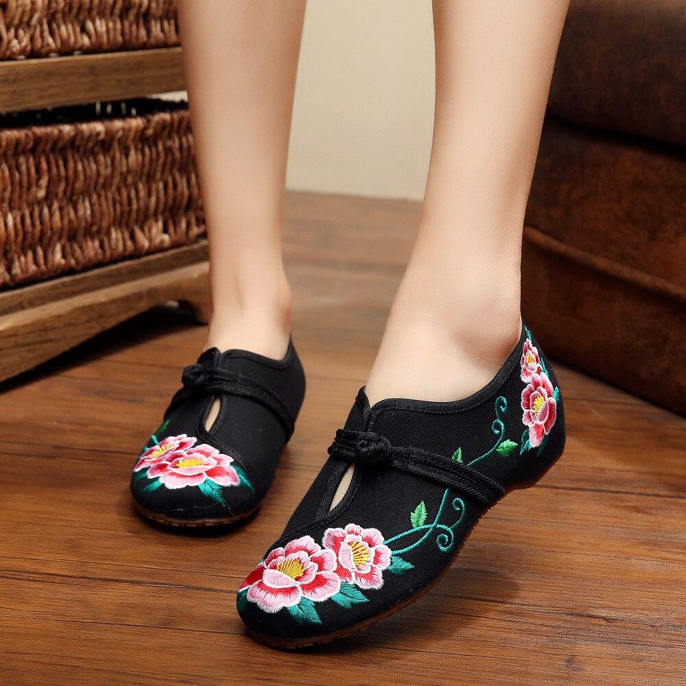 Las Flores Gemelas Negro Chino Zapatos Bordados Zapatos Nacionales de Diseño Muj