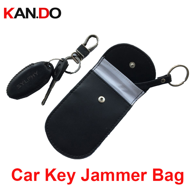 Round Shape Leather Remote Car Key Jammer Bag Car Key Sensor Jammer Bag Card Anti-Scan Sleeve Phone Signal Blocker Bag