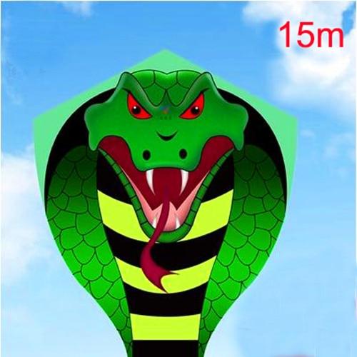 Envío Gratis alta calidad gran 15 M serpiente cometa carrete niños cometa vuelo juguetes ripstop nylon tela kite bar pesca kite dragon 3d