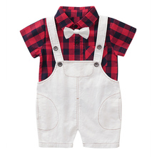 AmzBarley Toddler boy suits formal 2 pieces clothing set Bow tie plaid shirt+suspender shorts kids summer clothes for 2-6 years