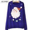 2017 Новый рождество пуловер горячие темно-синий хлопок осень зима свитер санта-клауса шаблон свитер О-Образным Вырезом с длинным рукавом пуловеры