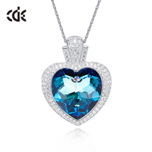 CDE 925 Sterling Silver Embellished with crystals Necklaces Jewelry Women Pendant love Romantic Gift