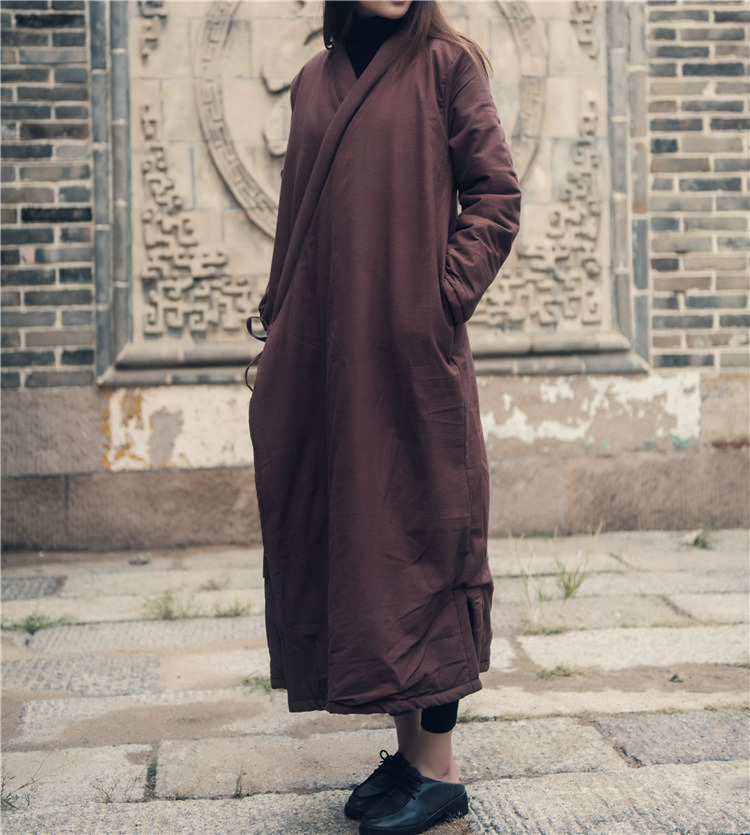 Women Chinese Style Padded Long Trench Coat Outwear Cotton Linen String Loose Retro Solid Color Padded