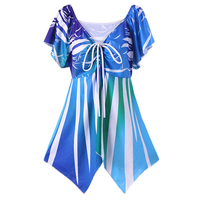 Women Butterfly Blouses Shirts Empire Waisted Colorful Shirts Women Irregular Tops Femme Tie Up Blouses Clothing