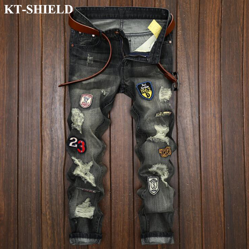 New Arrival Fashion Black Men Jeans Straigh Badge Famous Brand Jeans For Men Ripped Pants Masculina