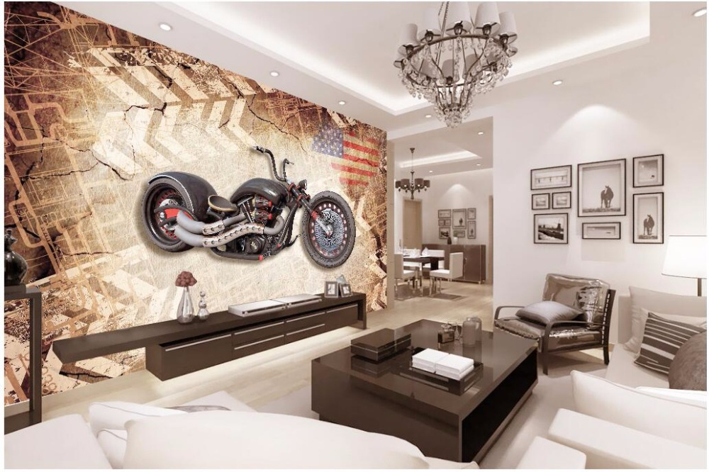 Custom photo 3d wallpaper on a wall Motorcycle retro nostalgic background wall living room Home decor 3d wall murals wallpaper junran america style vintage nostalgic wood grain photo pictures wallpaper in special words digit wallpaper for living room