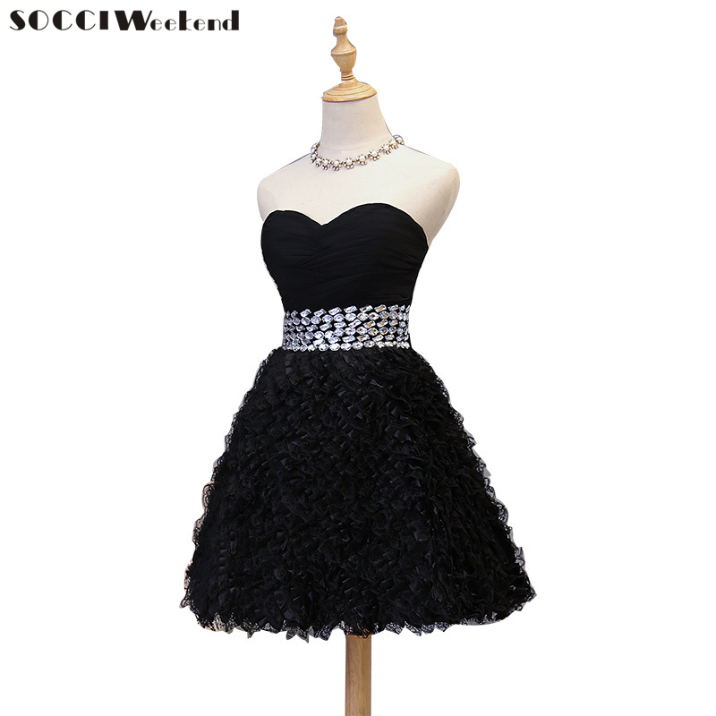 Short Sexy Black   Cocktail     Dresses   2018 Sleeveless for Women Formal Evening Party   Dress   Robe De Gowns New Ball Gown Feather