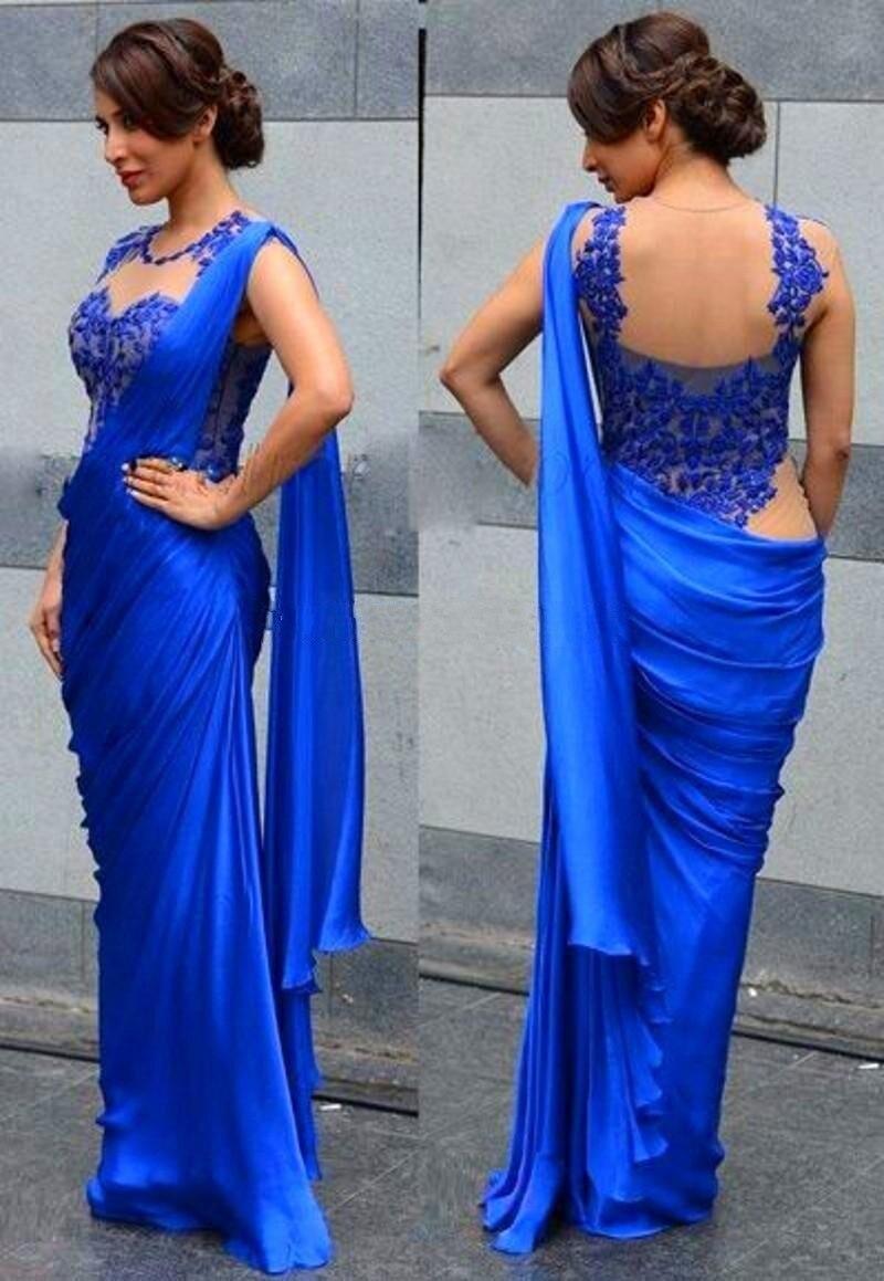 Dubai Arabic India Design Royal Blue Evening Dresses Backless Lace ...