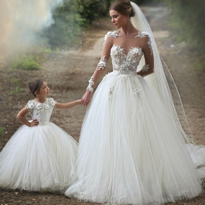 vestidos de novia 2017 sheer manga larga de la princesa de tul