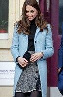2017新ケイト·ミドルトン王女青ウールコートファッションターンダウン襟冬暖かいコートN1737