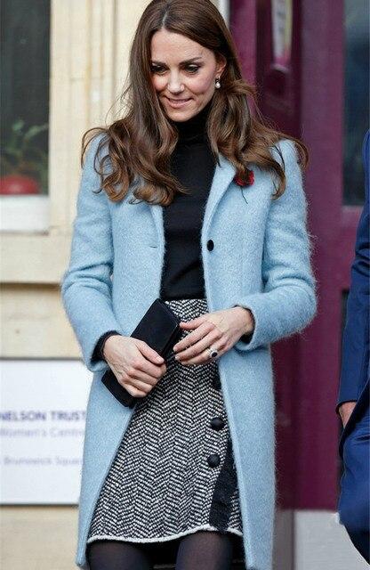 Principessa Middleton 2017 Lana di Blu Cappotto Gira Kate New Moda PZPxwqtU