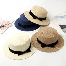 Шляпа женская летняя шляпа соломенная шляпа пляжная канотье модные ручной повседневное плоской подошве бант края панама лето головные уборы для женщин козырек от солнца женский шляпы