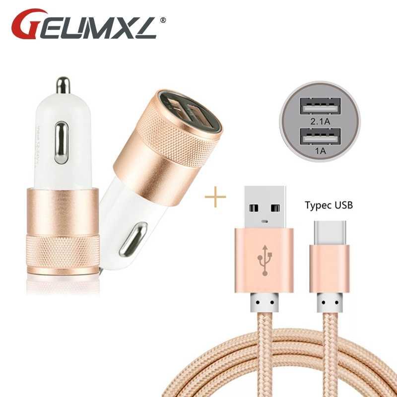 المزدوج USB سيارة مهايئ شاحن + النايلون نوع C USB 3.1 بيانات الشحن كابلات لابتوب اسيوس Zenpad 3 S 10 LTE Z500KL Z500M g5 V20