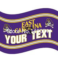 East Carolina Pirates YOUR TEXT Flag 3ft X 5ft Polyester NCAA Banner Flying Size No 4
