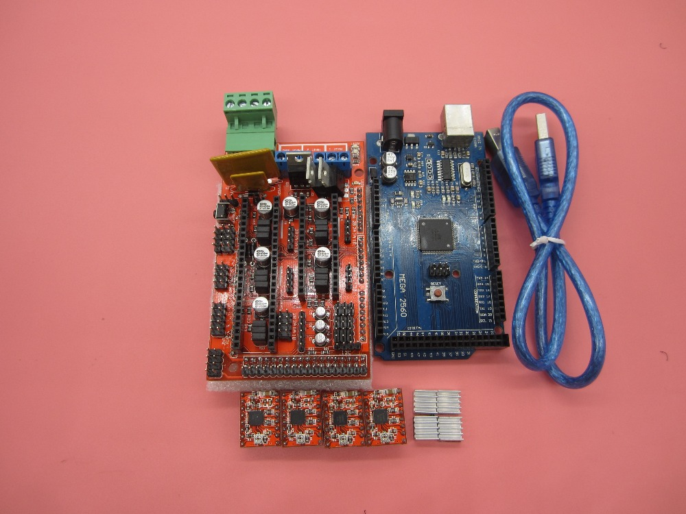 Free Shipping Mega 2560 R3 + 1pcs RAMPS 1.4 Controller + 4pcs A4988 Stepper Driver Module for 3D Printer kit Reprap MendelPrusa