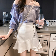 2019 Womens sexy word collar dot solid color shirt off-shoulder chiffon Slim printed ruffled top