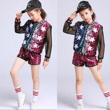 Танцевальные костюмы для девочек, расшитые блестками, Современный Джаз, хип-хоп, танцевальные костюмы, топы, штаны, детская одежда для сцены, танцевальные костюмы