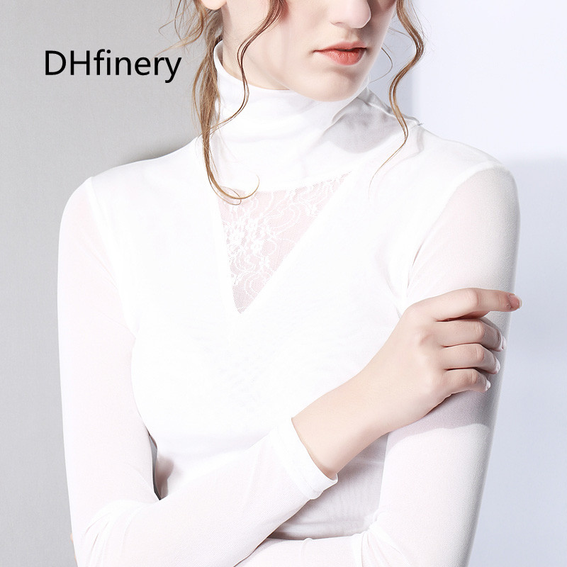 2019 Latest Design Dhfinery Spring Autumn Lace T-shirt Women Long Sleeve High Collar Sexy T-shirts Lady Black White And Gray Elegant Tops Sg26108 T-shirts
