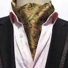 British Vintage Polka Dot/Jacquard Mens Long Silk Cravat Ascot Ties Handkerchief Gentlemen Wedding Party