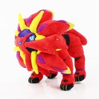 25cm Anime Cartoon Red Solgaleo Plush Dolls Collection Animal Soft Stuffed Doll Baby Toy Funs Kids Gift