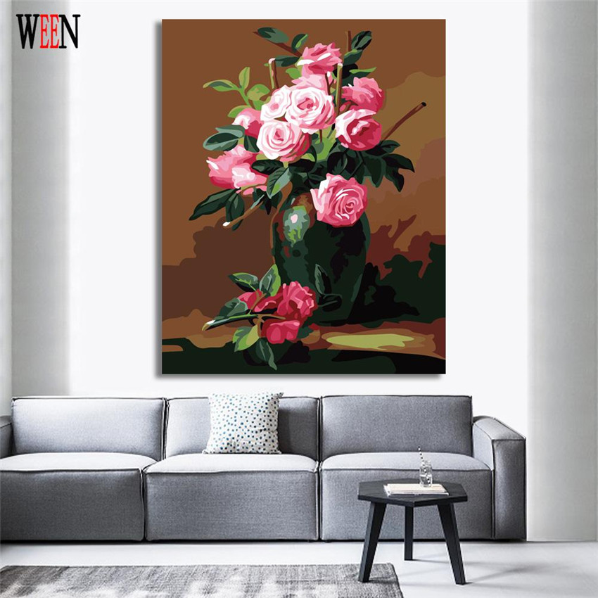 WEEN Flower Pictures Painting By Numbers DIY HandPainted Rose Modern Wall Canvas Art For Living Room Home Artwork By number 2017 in Painting Calligraphy from Home Garden