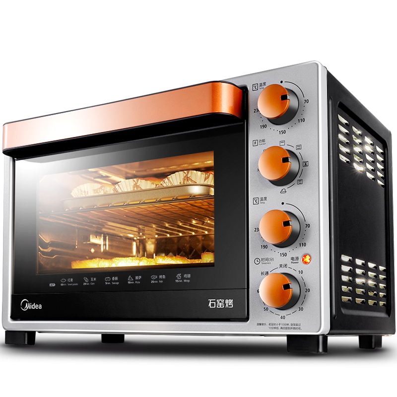 32L Large Capacity Single Kiln Roasted Electric Oven for Home Baking Cake Pizza Meat Multifunctional Oven with Rotating Grill free shipping large electric oven home baking 38 liters capacity