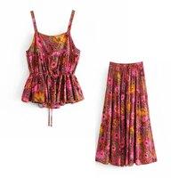 Ladies Set 2019 New Summer Retro Daisy Print Sling Sleeveless Tops Fashion Skirt Set Two Piece Set
