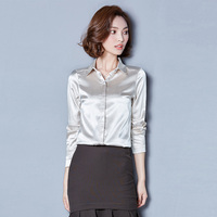 Dioufond 2018 Formal Solid Women Shirts Long Sleeve Casual Silk Blouses Fashion Spring Ladies Tops Office