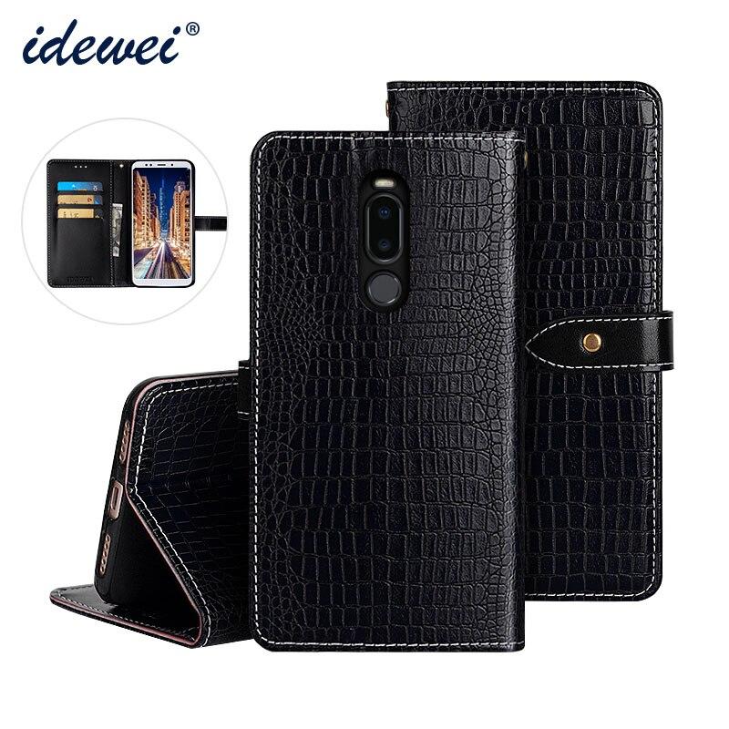 "IDEWEI For Meizu Note8 Case Cover Luxury Leather Flip Case For Meizu Note 8 M822Q Protective Phone Case Crocodile Grain 6.0"""