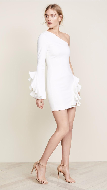9dfd55da0584 Elegante Sexy Bodcyon Bianco Vestito Celebrità Increspature One Da Mini Club  Partito Night spalla All ingrosso Delle XpfzBn1w