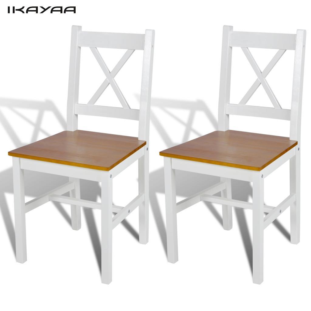 ikayaa unids sillas de comedor de madera de pino blanco y colores naturales sillas para