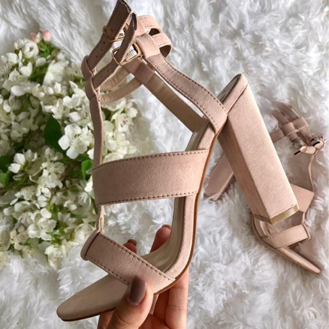 Parkside Wind Summer Women's sandals Square Heel 10cm Navy Female High Heels Women's Shoes Woman Sandals Ankle Strap Heels-49