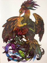 HOT SALE Phoenix With Colorful Feather Sexy Cool Beauty Tattoo Waterproof Hot Temporary Tattoo Stickers #180