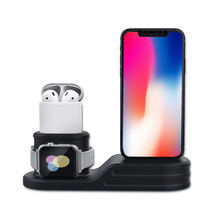 Fanshu 3 in 1 Silicone Charger Dock Station Desk Charging for Apple Watch Series 4/3/2/1/AirPods/iPhone X 8 8 Plus 7 Plus 6S laurel burch lb4101 medium tote zipper top 12 in x 3 1 2 in x 8 1 2 in tres gatos blue gold